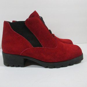 Vintage Barbo Red Suede Ankle Boots